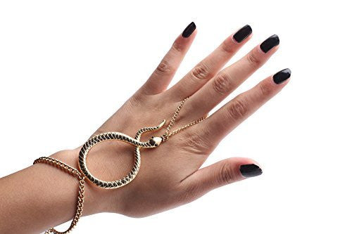 Snake Adjustable Hand Chain Bracelet -...