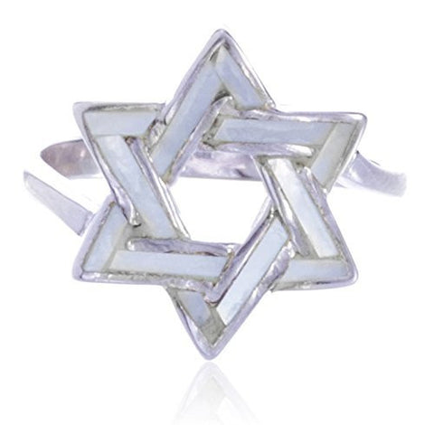 925 Sterling Silver Created White Opal Star Of David Ring (8)