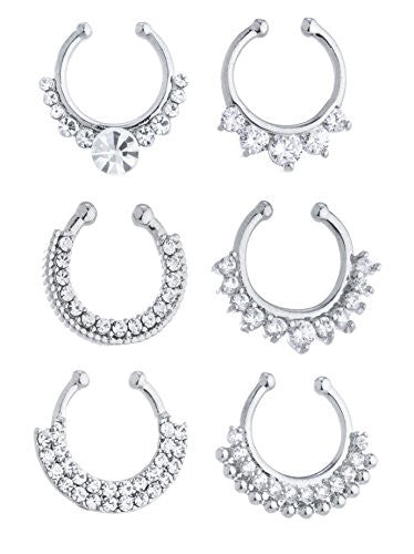 Wholesale Silvertone Iced Out Tribal Septum...