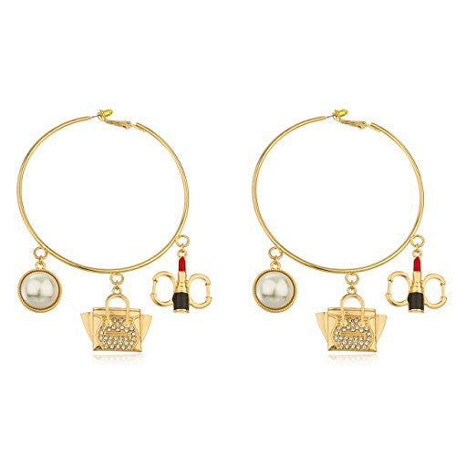Goldtone Thin 3 Inch Hoop Earrings...