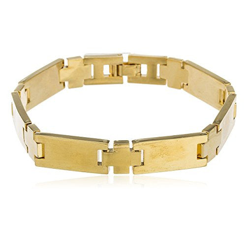 Two Year Warranty Gold Overlay 8.25 Inch Bonded Link Bar Bracelet
