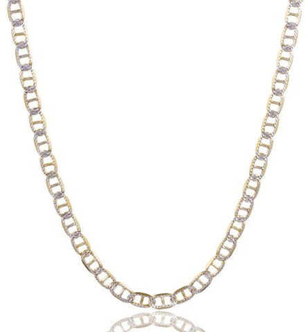 Real 925 Sterling Silver Two Tone Prolux 4mm Mariner Chain Pave Necklace (24 Inches)
