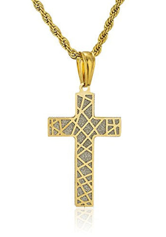 Stainless Steel Goldtone Cross Design with Sandblast Pendant and a 29 Inch Rope Chain