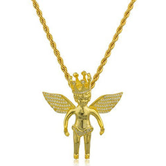 925 Sterling Silver Goldtone Angel with Crown and Clear Cz Stones Micro Pendant with a 3mm Brass Rope Chain Necklace (24 inches)
