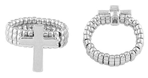 2 Pieces of Silvertone Traditional Cross Adjustable Stretch Ring