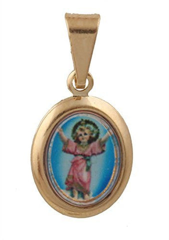 2 Pieces of Gold Overlay El Nino Baby Jesus Piece Oval - Two Year Warranty