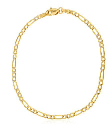 14k Yellow Gold Bracelet 2.3mm Pave Figaro, 7 Inch