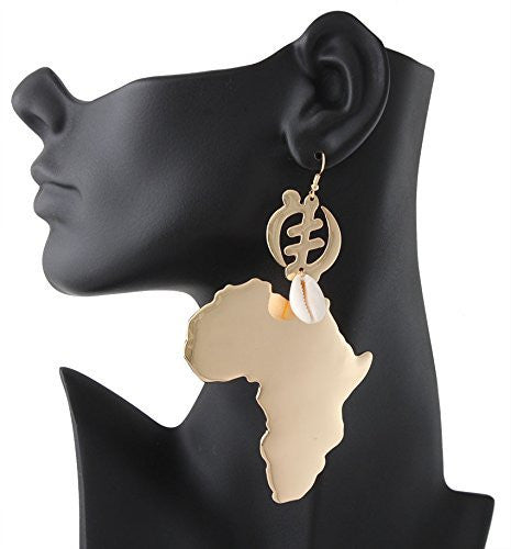 Goldtone Adinkra Symbol & Map of Africa with Seashell Dangle Earrings