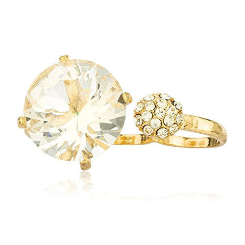 Goldtone with Large Crystal & Round Stone Three Finger Ring