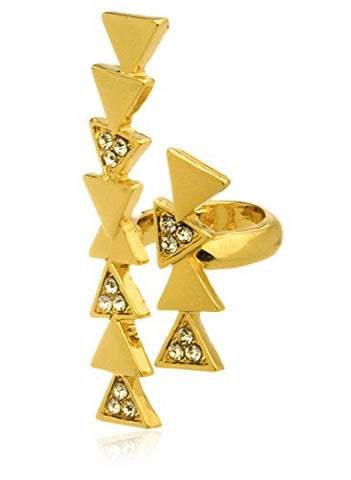 Goldtone Stackable Triangles Adjustable Ring with Clear Stones - One Size Fits Most
