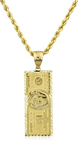 Real 10k Yellow Gold $100 Dollar Benjamin Pendant with a 10k 24 Inch D-cut Rope Chain Necklace