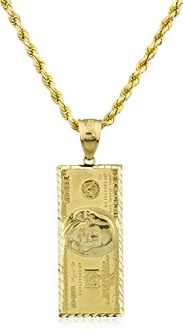 10K Yellow Gold $100 Dollar Benjamin Pendant with a 10k 24 Inch D-cut Rope Chain Necklace