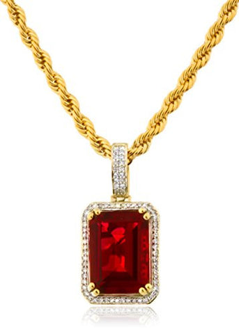 10k Yellow Gold 1/4 Cttw Diamond Pendant with a 7.00 Carat Synthetic Ruby & 3mm 24 Inch Brass Rope Necklace