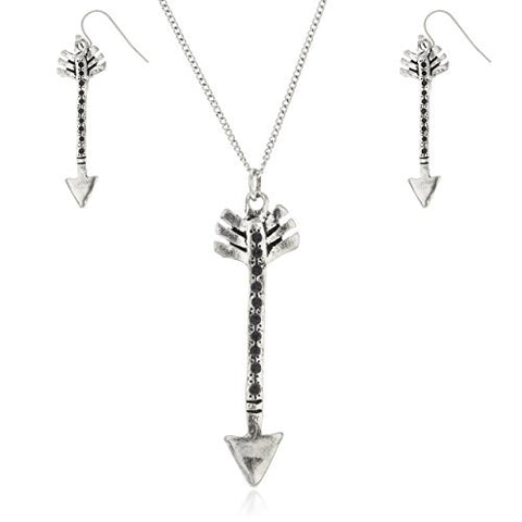 Silvertone Black Beaded Arrow Pendant 32 Inch Link Necklace with Matching Earrings Jewelry Set