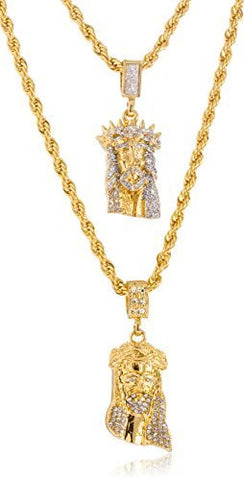 Goldtone or Silvertone - Sandblast Double Layered Iced Out Jesus Piece Face Pendant Necklace