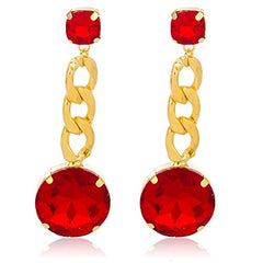 Goldtone with Red 'Crystal Clear' 3 Inch Cuban Design Drop Earrings