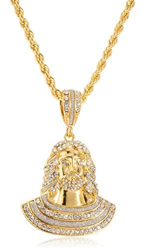 Goldtone or Silvertone - Iced Out Jesus Piece Face Pendant with a 5mm 30 Inch Rope Chain Necklace