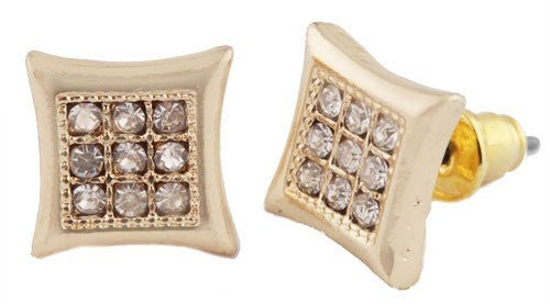 Men's Goldtone with Clear Iced Out Curved Square Style with 9 Stones Stud Earrings