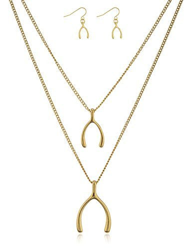 Goldtone Double Layer Wishbone Pendant Necklace...