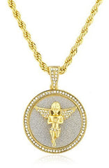 Goldtone Round Praying Angel Pendant with a 30 Inch Rope Chain Necklace