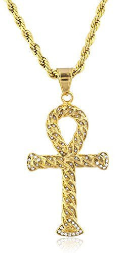Stainless Steel Goldtone Rope Design Ankh Pendant with 23.5 Inch Rope Chain