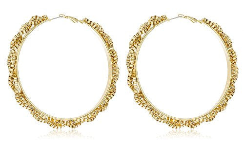 Goldtone Twisted Mesh Link Chain Large 3 Inch Hoop Earrings
