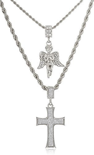 Double Layer Necklace with Sandblast Large Cross & Angel Pendants 22-28 Inch Rope Chain Necklace (Silvertone)