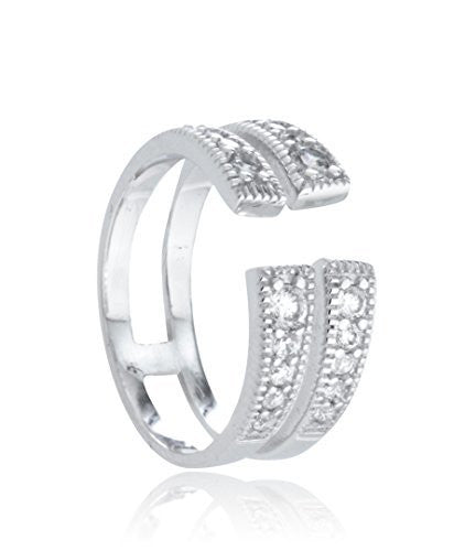 Sterling Silver Ring Double Row Wrap...