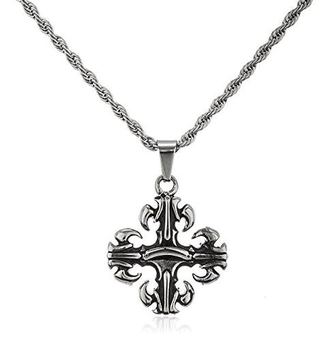 Stainless Steel Silvertone Tribal Cross Pendant with a 24 Inch Rope Chain