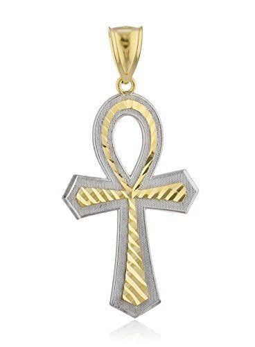 10k Gold Two-Tone Ankh Cross Pendant...