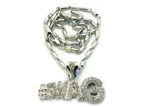 Small Silvertone Iced Out #Swag Pendant...