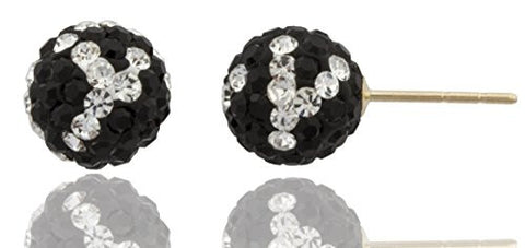 14k Yellow Gold 8mm Black and White Preciosa Crystals Stud Earrings