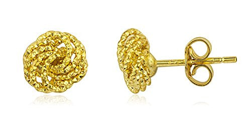 14k Yellow Gold D-cut Love Knot Italian Stud Earrings - 6mm and 8mm Available (8 Millimeters)