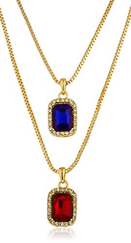 "Goldtone Pave Blue & Simulated Ruby Pendant Set with Separate 24"" & 30"" Box Chain Necklaces"