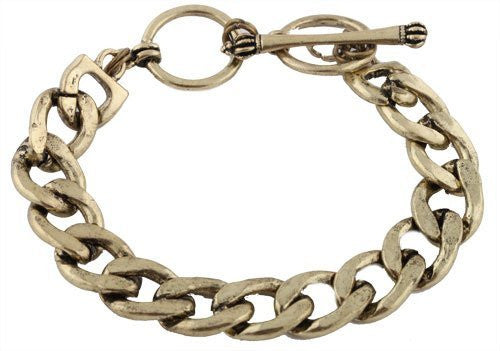 2 Pieces of Burnished Goldtone 8.5 Inch Cuban Link 12mm Toggle Bracelet