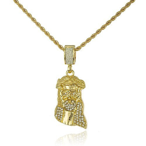 Goldtone Iced Out Jesus Piece Face Micro Pendant with a 24 Inch Rope Necklace