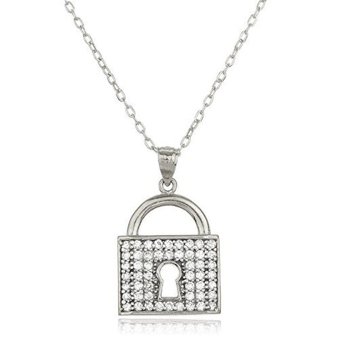 14K White Gold Layered Anchor Necklace 18inch and Key Lock Pendant with Cz Stones