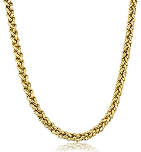 Stainless Steel Goldtone Plated 5mm 24 Inch Wheat Chain