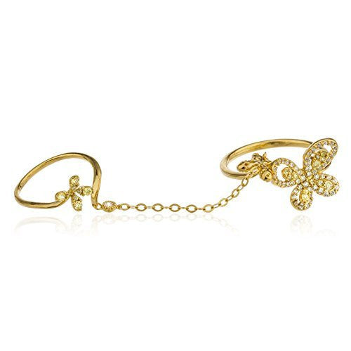 925 Silver Goldtone Butterfly Finger Ring with Link Midi Ring (6)