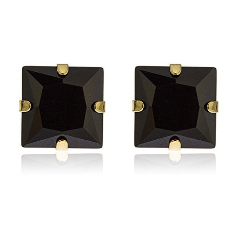 14k Yellow Gold Square Black 7mm Stud Earrings with Silicone Back