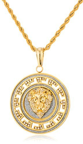 Stainless Steel Iced Out Large Round Sandblast Lion Face Pendant with a 24 Inch Rope Necklace (Goldtone or Silvertone)