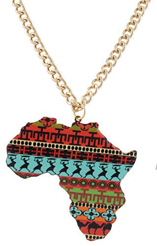 Goldtone with Multicolors Extra Large Africa Continent Shaped Pendant with a 30 Inch Adjustable Cuban Chain Necklace