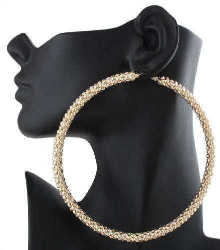 Goldtone Mesh Pattern Large 4 Inch Hoop Earrings
