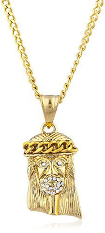 Stainless Steel Goldtone Jesus Head Pendant with 24 Inch Cuban Chain