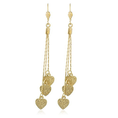 Two Year Warranty Gold Overlay Frosted Heart Design 4 Inch Drop Chain Earrings