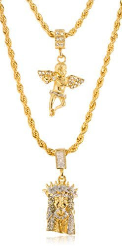 Goldtone or Silvertone - Sandblast Double Layered Iced Out Jesus Piece Face and Angel Pendant Necklace