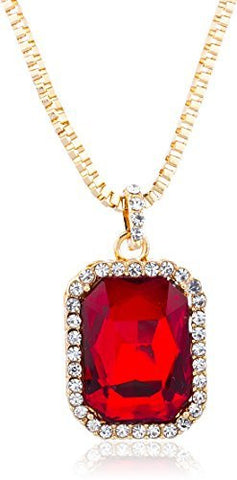 Goldtone Red Square Pendant & 24 Inch Box Necklace