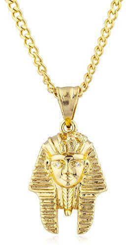Stainless Steel Goldtone Pharaoh Head Hands Pendant with 24 Inch Cuban Chain