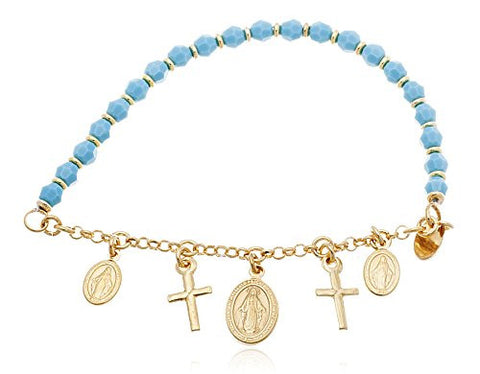 925 Sterling Silver Beaded Bracelet with Virgin Mary and Cross Charms (Gold plated w/blue)