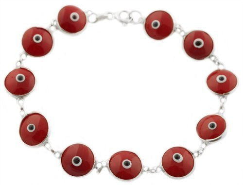 Silver with Burgundy Real 925 Sterling Silver 7 Inch Evil Eye Bracelet